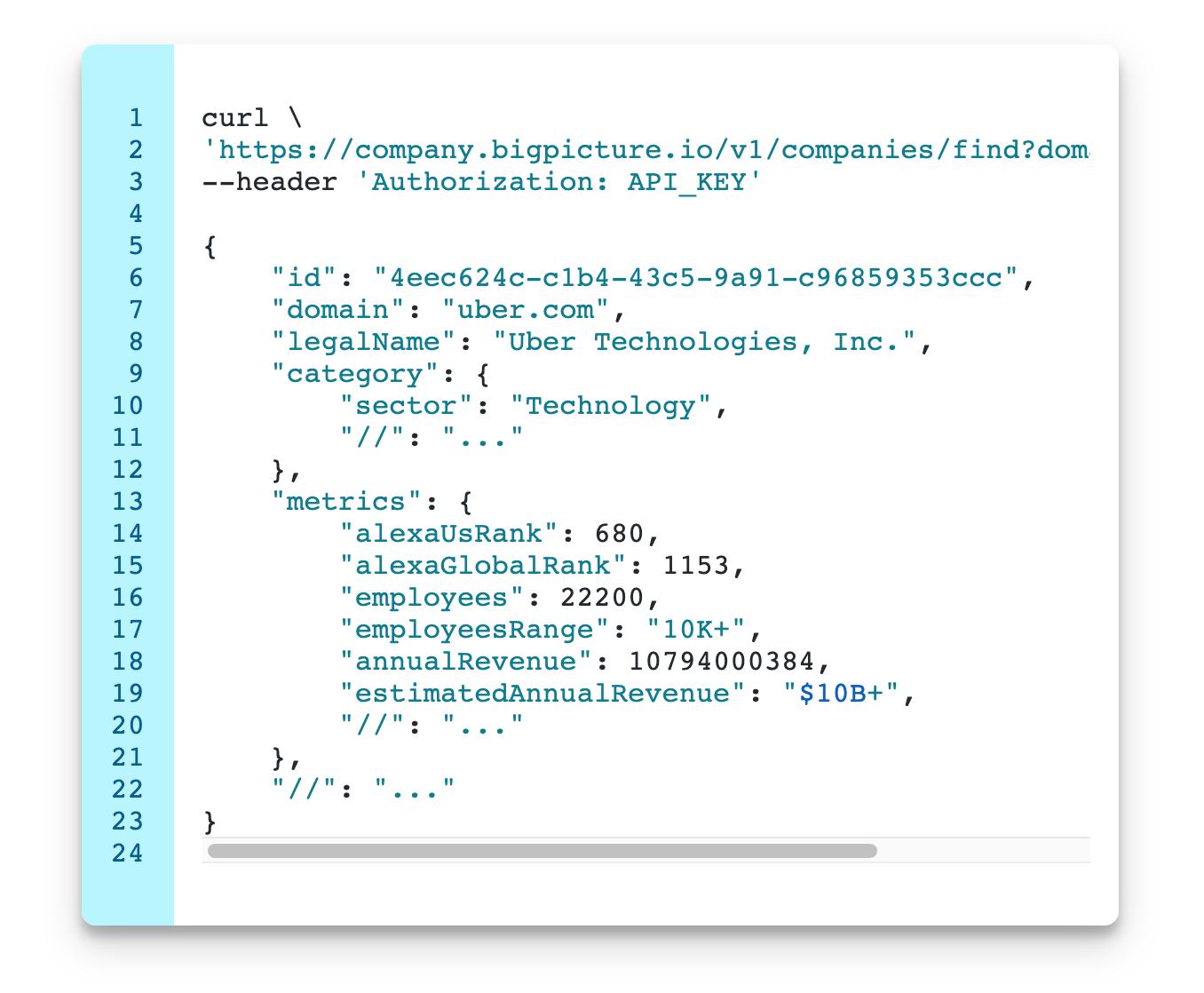 API data UI view